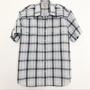 Men's Lucky Brand Plaid Short Sleeve Button Dow